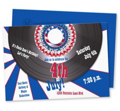 Fun patriotic independence day party invitation with retro record