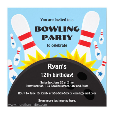 Bowling birthday party invitation with pins and bowling ball for boys