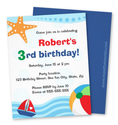 Colorful pool or beach party invitation for kids with ball, boat and starfish