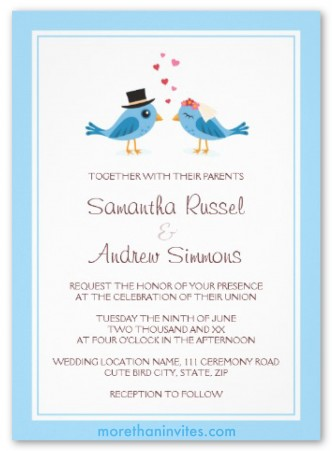 Cute blue bird bride and groom couple wedding invitation