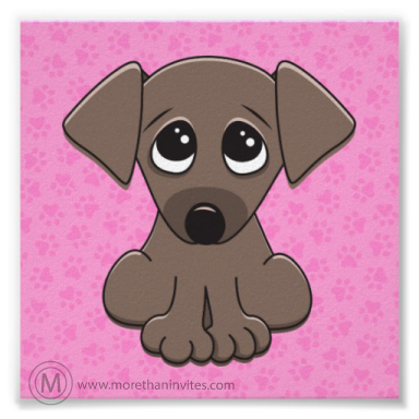 Cute, square poster with a brown puppy dog