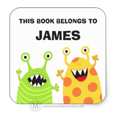 Cute book plates for kids with funny monsters