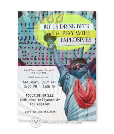 Hipster 4th of July party invitations with Statue of Liberty in sunglasses