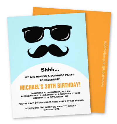 Incognito blue and orange surprise party invite
