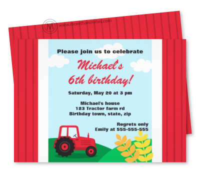 Fun birthday invitation for children with a little red cartoon tractor