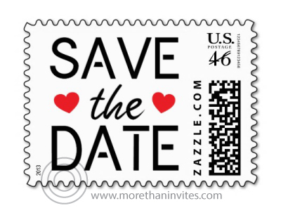 Stylish and trendy wedding save the date postage stamp with modern text design and two red hearts