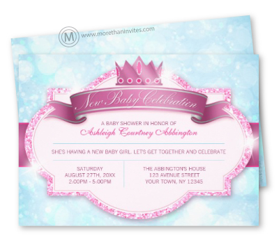 Royal princess pink and blue baby shower invitation with printed glitter effect