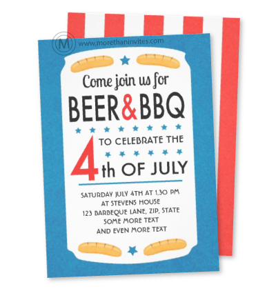 Fun hipster 4th of july barbecue  party invitation with beer can and sausages