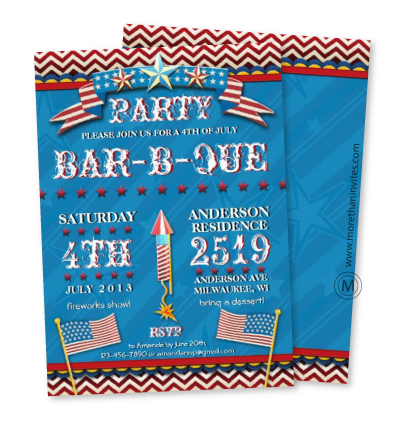 Fun Independence day barbecue party invitation with stars and flags
