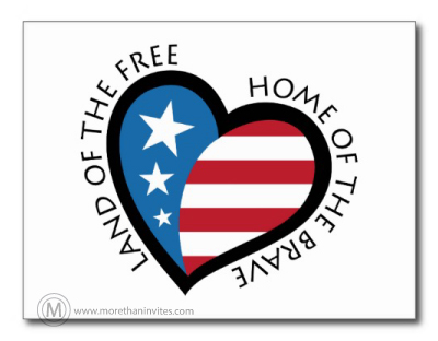 American pride postcards featuring a heart with stars and stripes and text: Land of the free, Home of the brave