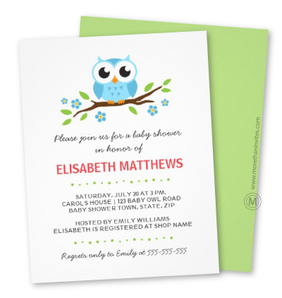 Stylish baby shower invite with blue cartoon owl, flowers and leaves