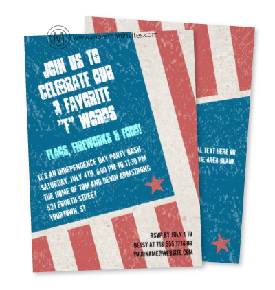 Patriotic 4th of July party invitations with distressed, grunge texture american flag