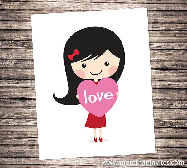 Cute wall art for children featuring a girl holding a love heart