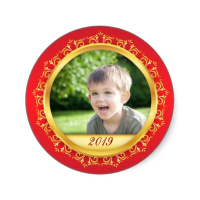 Custom photo stickers with red and golden border and customizable year