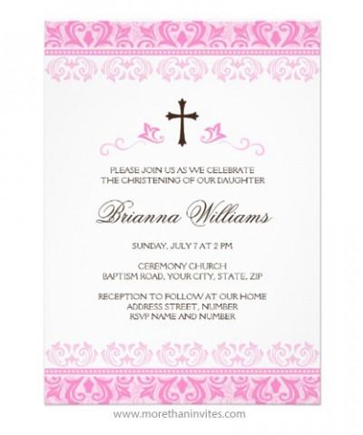 Elegant baptism invitation for little baby girls with pink damask borders