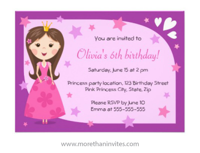 Cute pink and purple princess birthday party invitation with stars and hearts