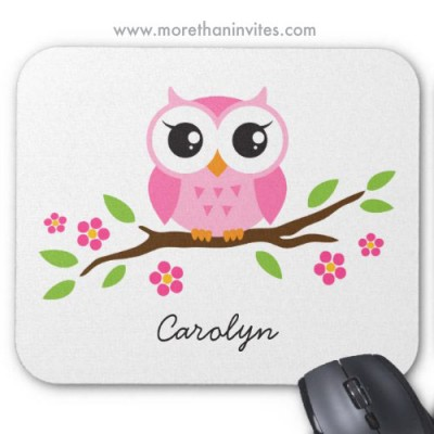 Pink little owl on floral branch, personalized mousepad for girls and women