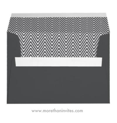 Stylish and elegant dark gray chevron pattern A7 envelope