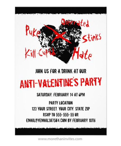 anti valentines day singles party invitation with black distressed heart
