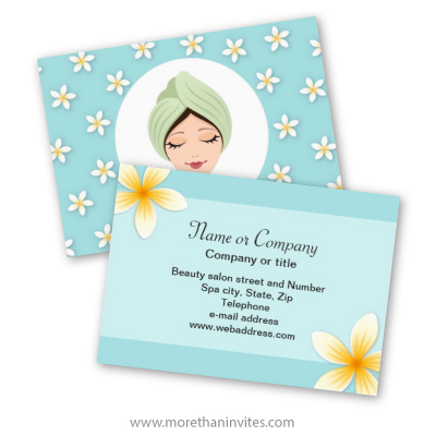 Beautiful beauty salon spa or massage business card with frangipani
