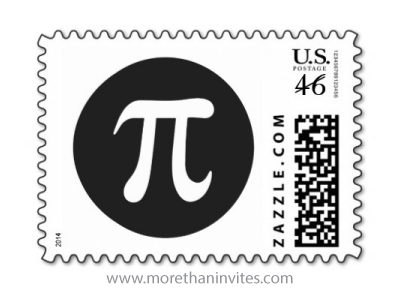 Black and white pi symbol day or math postage stamp