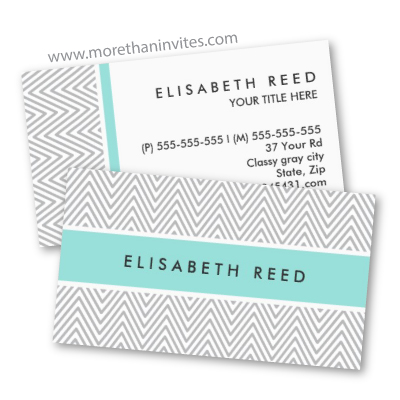 Chic and trendy personal profile or business card with light gray chevron zigzag pattern and aqua blue band