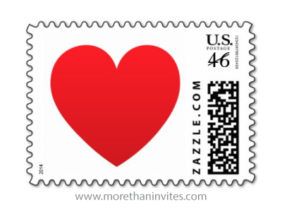 Classic simple red love heart wedding or valentines day postage stamp