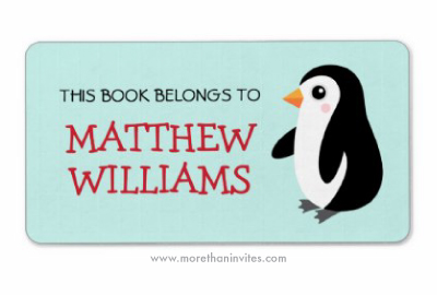 Cute cartoon penguin personalized bookplates / book labels for children