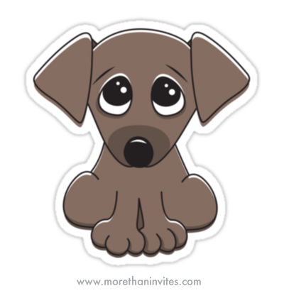 Cute cartoon puppy dog with big, begging eyes sticker - More than invites