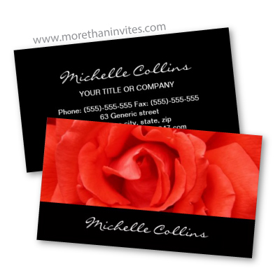 Elegant red rose luxury black floral flower business cards