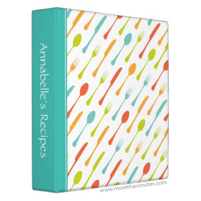 Fun recipe binder with colorful cutlery knife fork and spoon pattern and turquoise aqua blue spine