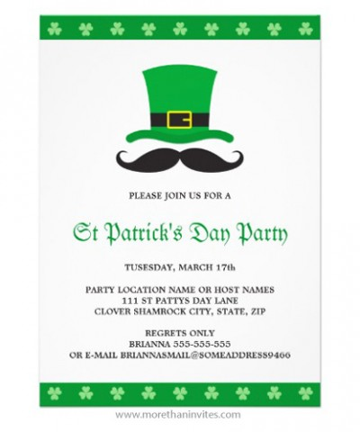 Funny moustache and leprechaun hat St Patricks day party invitation