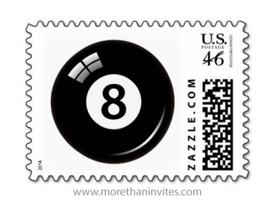 Lucky number eight 8 pool billiards ball postage stamp