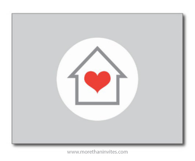 Modern new address moving announcement postcard with gray house and red heart