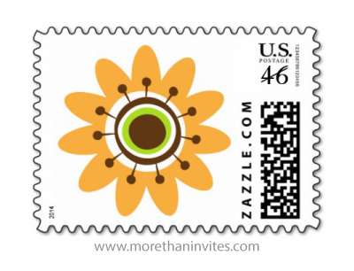Retro, yellow and brown flower postage stamp