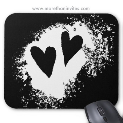 Distressed worn grunge stain hearts cool mousepad
