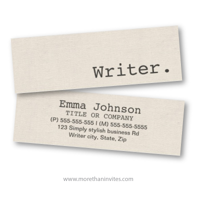 Writer beige cream colored printed linen texture skinny business card