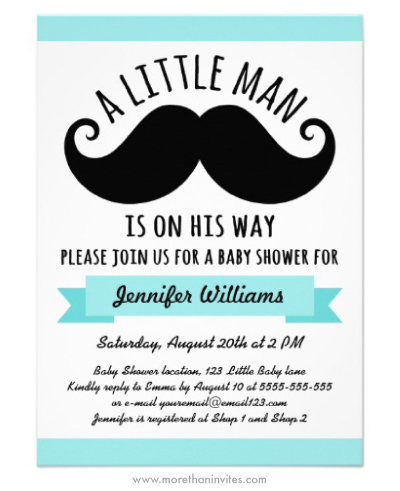 A little man in on his way cute black handlebar mustache aqua blue boy baby shower invitation