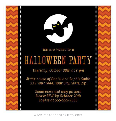 Halloween party invitation with bat in front of full moon and orange chevron zigzag pattern