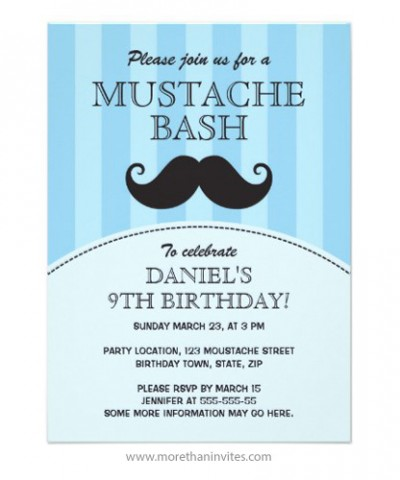 Funny handlebar mustache bash birthday party invitation, blue for boys