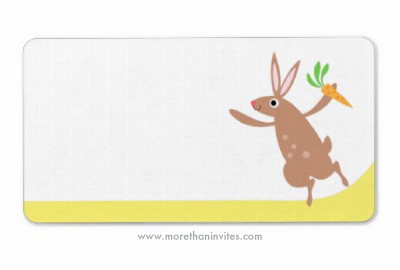 Cute Easter label with happy bunny rabbit holding a carrot and yellow border