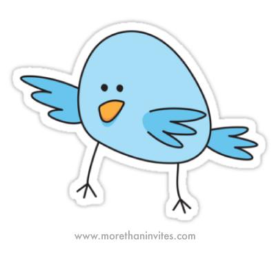 Cute, blue cartoon bird sticker - More than invites