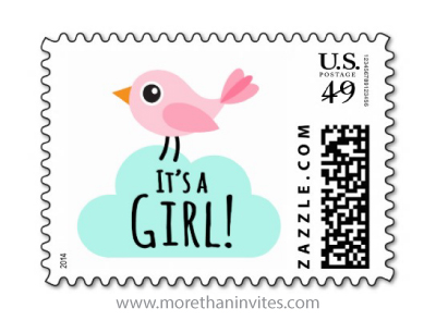 Cute its a girl new baby announcement or baby shower postage stamp with pink cartoon bird and aqua blue cloud