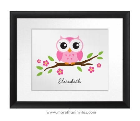 Cute pink owl personalized nursery wall art room decor for children