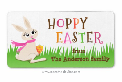 Easter label with cute cartoon bunny rabbit holding an egg