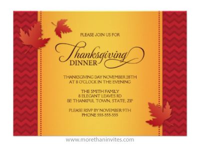 Elegant leaves gold and deep red burgundy chevron zigzag pattern Thanksgiving dinner custom invitation