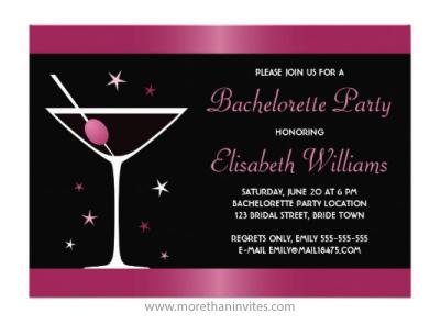 Elegant martini cocktail glass fuchsia pink and black bachelorette party personalized invitation
