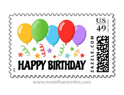Happy birthday postage stamp with colorful balloons stars and streamers