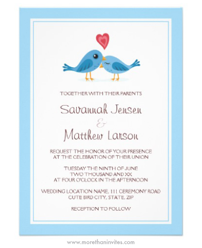 Cute blue birds with heart wedding invitation