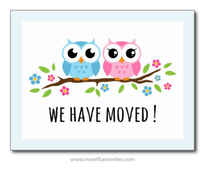 Cute change of address moving announcement postacard with pink and blue cartoon owls on floral branch